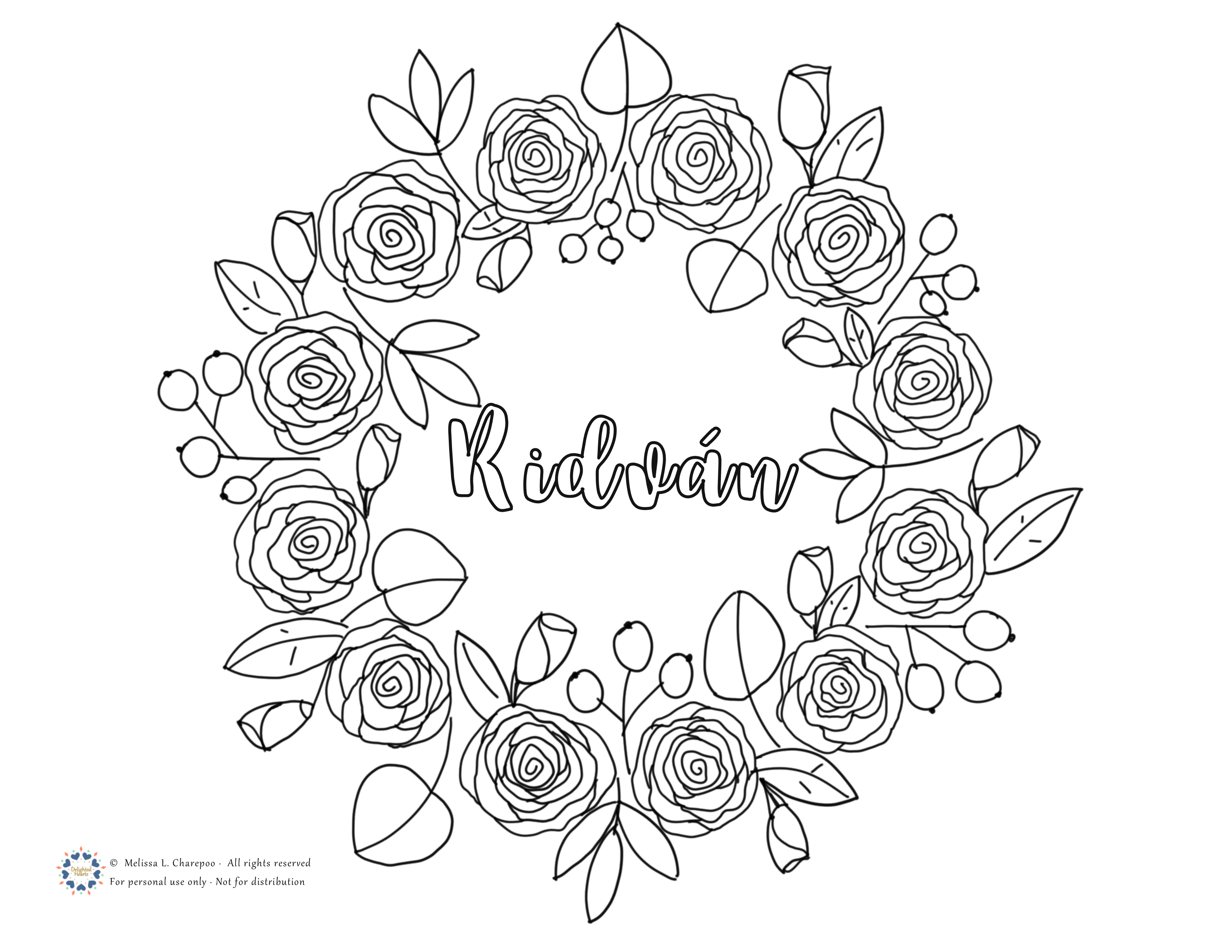 Gift Coloring Page Twelve Roses To Celebrate Ridvan The King Of Festivals Delighted Hearts