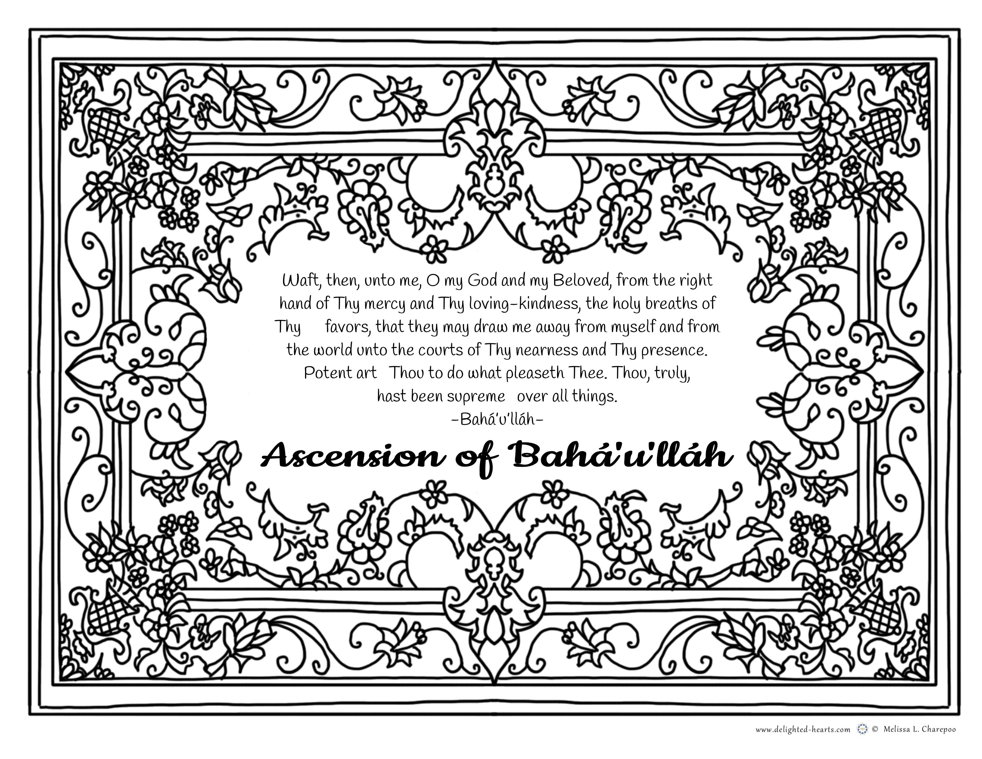 Ascencion Bahaullah_ 176_DHLLC_Melissa Charepoo_Coloring Page_Ascencion of Baha'u'llah