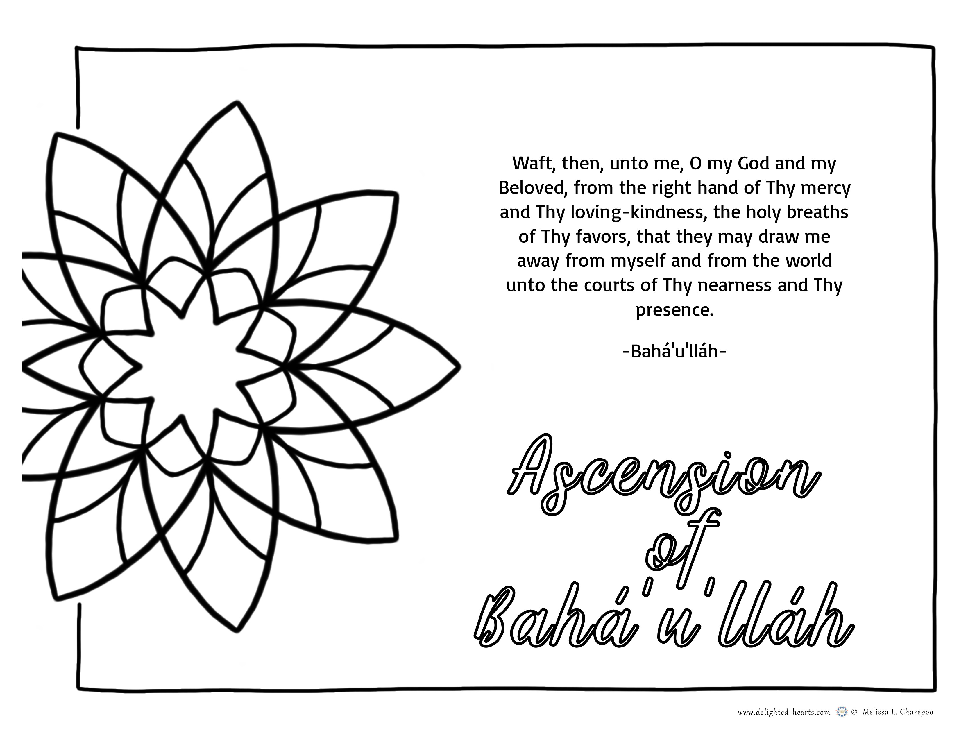 Ascencion Bahaullah_ 177_DHLLC_Melissa Charepoo_Coloring Page_ 9 pointed star
