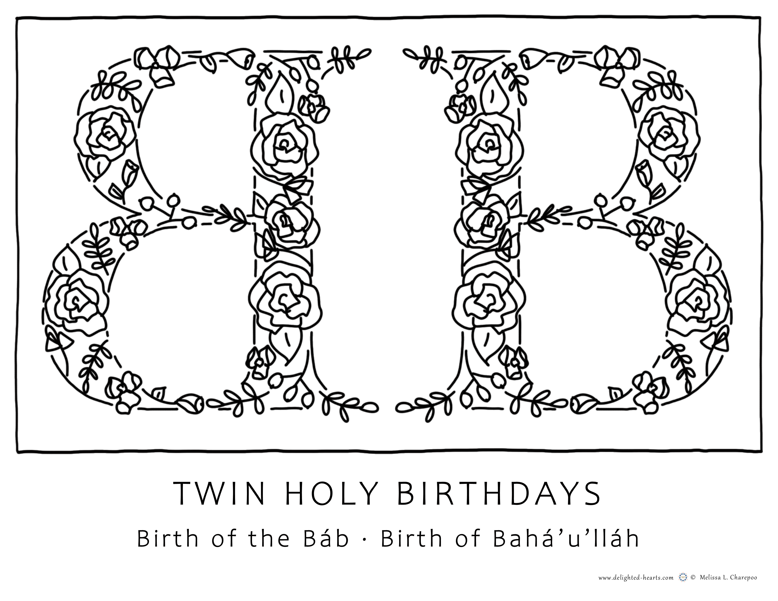 Twin Holy Days_177_DHLLC_Melissa Charepoo_Coloring Page_Twin Holy Days_DoubleB