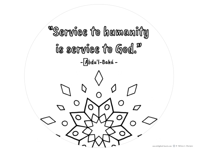Quote_Service to humankind is service to God_ 176_DHLLC_Melissa Charepoo_Coloring Page